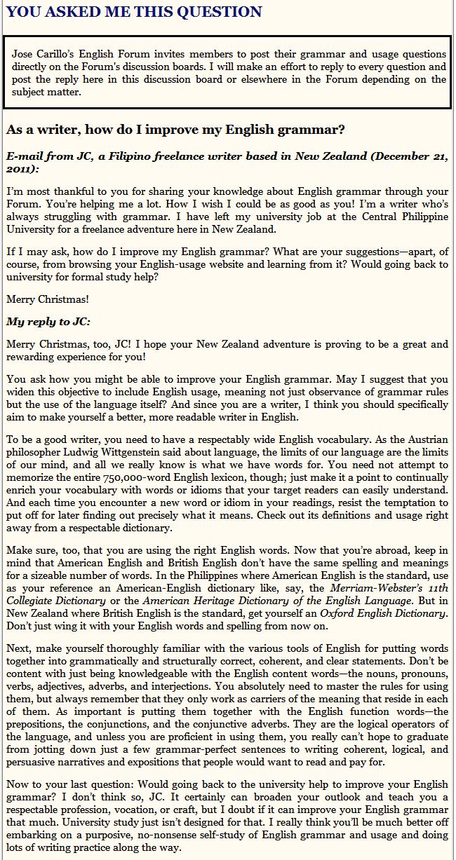 Improve Your English Usage via Jose Carillo's English Forum